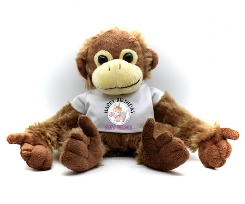Personalised Monkey Teddy Bear N20 - Rainbow Unicorn Birthday / Christmas Gift